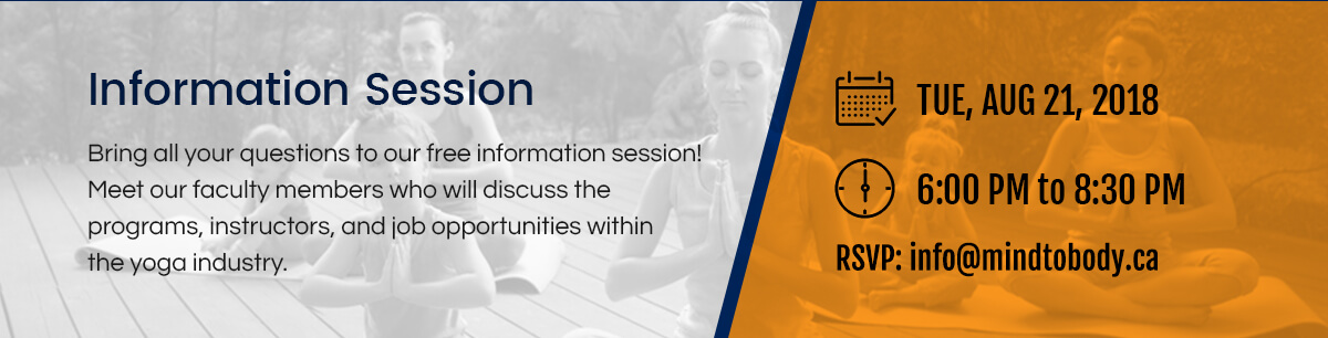 Yoga teacher training information session at Mind to Body Yoga Mississauga