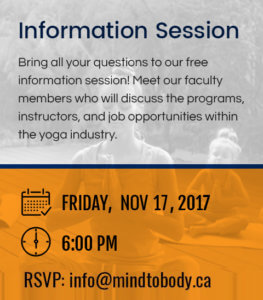 Yoga Training Mississauga Info Session Nov 17
